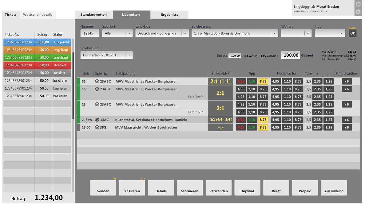 Interface für Kassenterminal